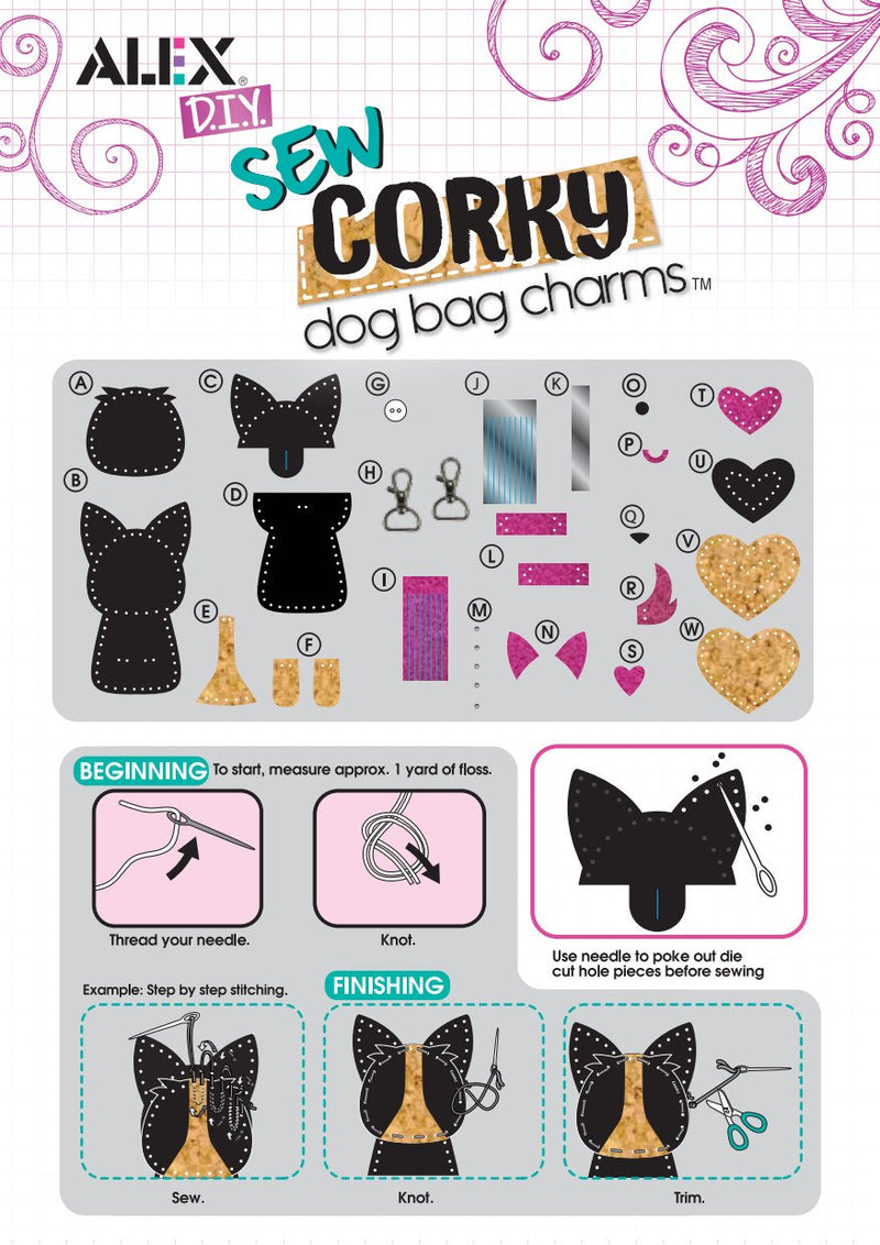 Alex Toys DIY Sew Corky Bag Dog Charms crafting kit