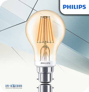 Philips Dimmable LED Bulb 7.5W (48W) A60 B22 820 Gold - Flame