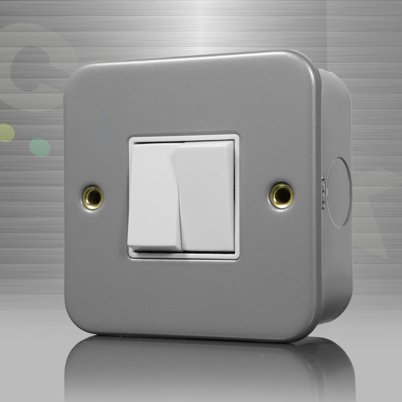 Click Metal Clad Light Switch, 2 Gang, Double Pole