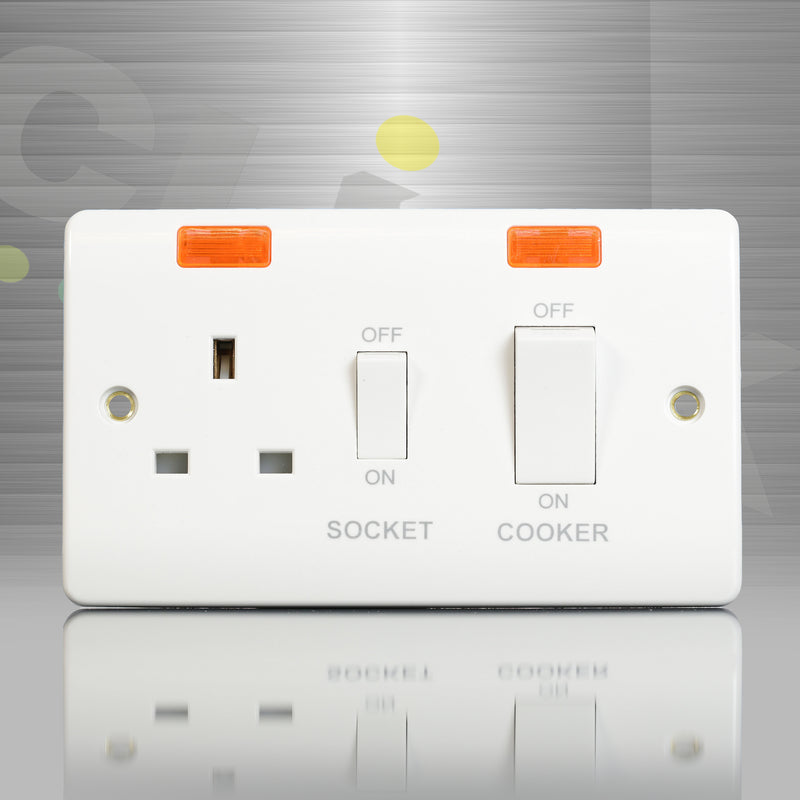 Click Mode Cooker 45A DP Switch + 13A DP Switched Socket + Neons