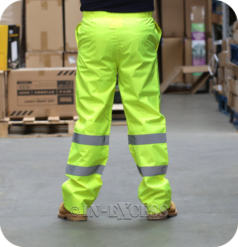 Class 1 High Visibility Waterproof Elasticated Waist Reflective Over Trousers - Yellow