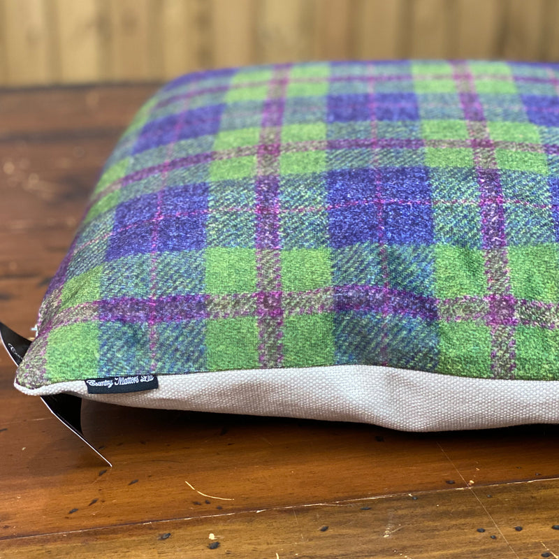 Country Matters Green & Purple Checked Tweed Pattern Cushion 45 x 45cm
