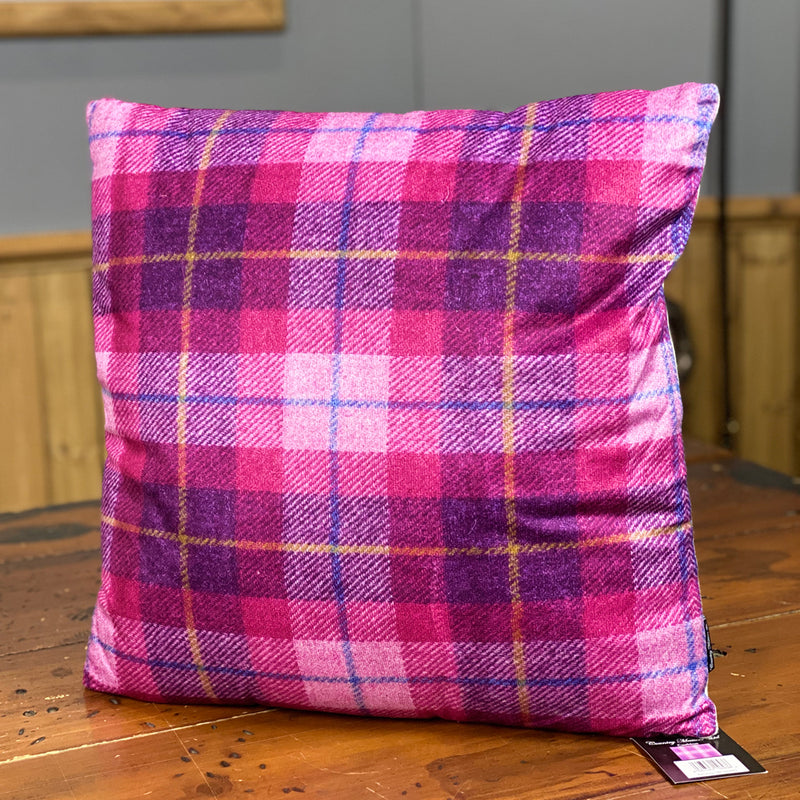 Country Matters Highland Pink Checked Tweed Tartan Pattern Cushion 45 x 45cm