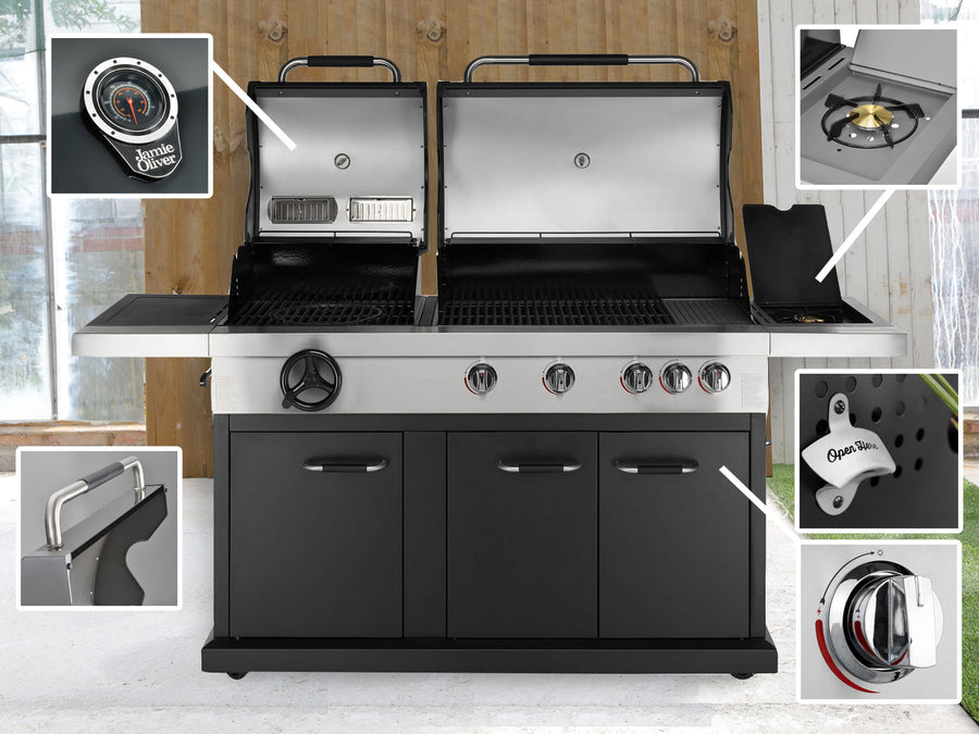 Genuine Jamie Oliver Dual Fuel Charcoal & Gas BBQ With 4 Gas Burners, Side Burner, Griddle Plate & Cast Iron Grills