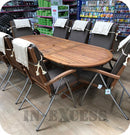 Edinburgh Double Extension Oval Hardwood Dining Table & Chair Set