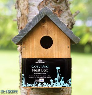 Tom Chambers Cosy Bird Wooden Bird Nest Box - 32mm Entrance