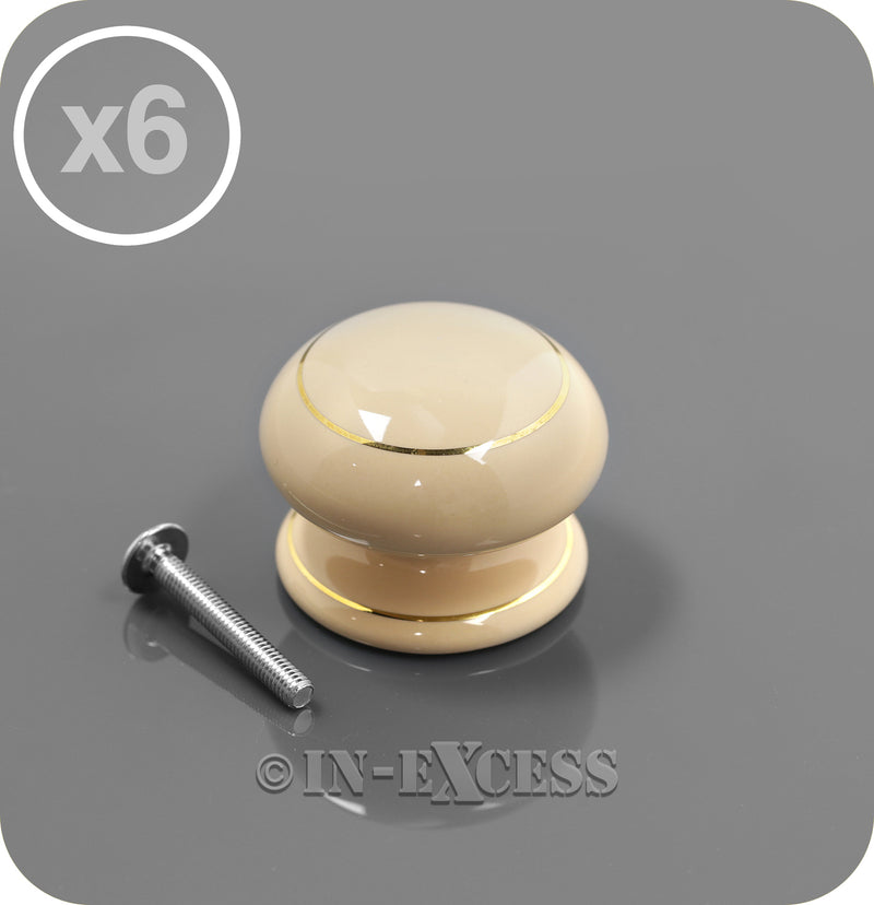 In-Excess Hardware Denby Traditional Kitchen Cupboard Furniture Knob - Cream Porcelain & Gold