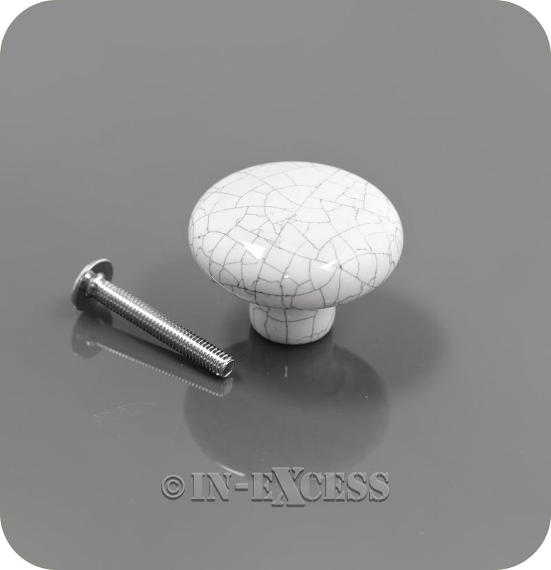 In-Excess Hardware Florence Kitchen Cupboard Furniture Knob - White Cracked Ceramic