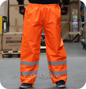 JSP Class 1 High Visibility Waterproof Elasticated Waist Reflective Over Trousers - Orange
