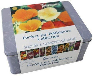 Johnsons Perfect for Pollinators Flower Seed Tin Collection - 10 Packets of Seeds