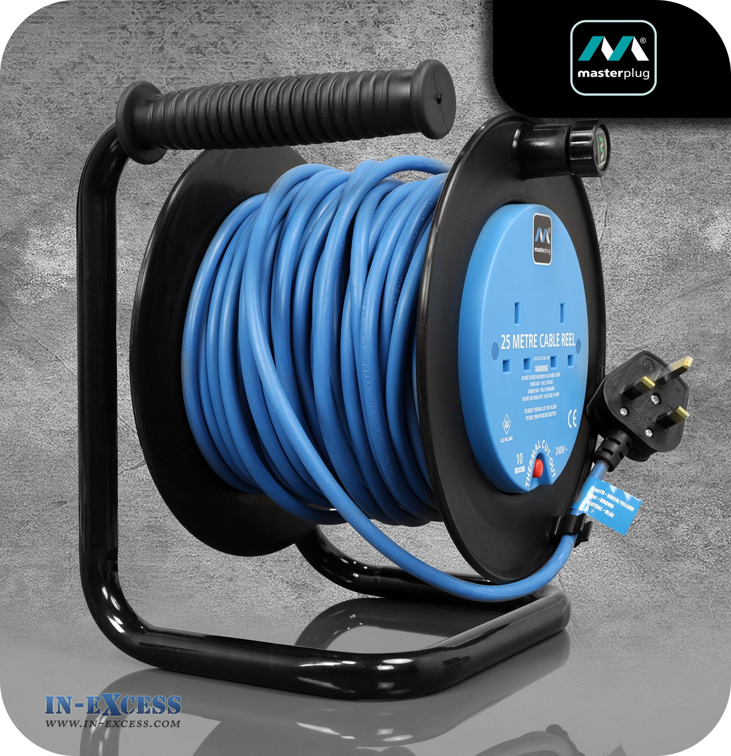 Masterplug 25m Cable Reel 10A 240V Thermal Cut-out - 2 Sockets - In ...