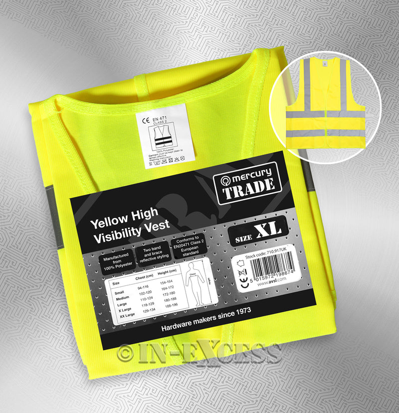 Photo of AVSL Mercury Trade Yellow High Visibility Vest EXTRA LARGE with packaging