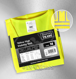 Photo of AVSL Mercury Trade Yellow High Visibility Vest MEDIUM with packaging