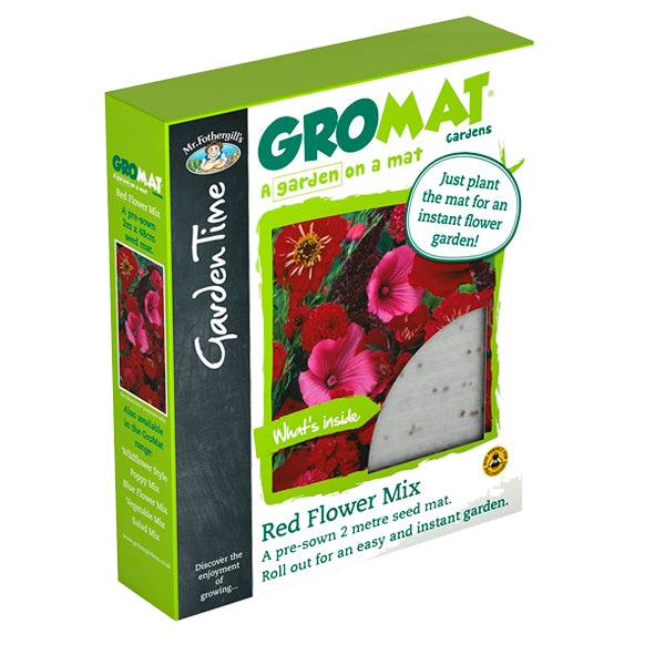 Mr Fothergill's Garden Time GroMat Pre-Seeded Flower Mat - Red Flower Mix