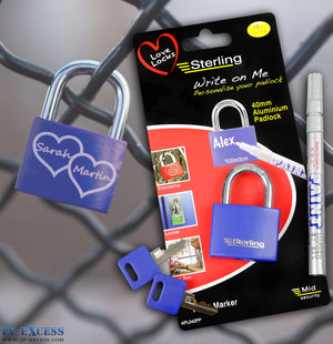 Sterling Love Lock Write On Me Padlock 40mm with 2 Keys & Pen Marker