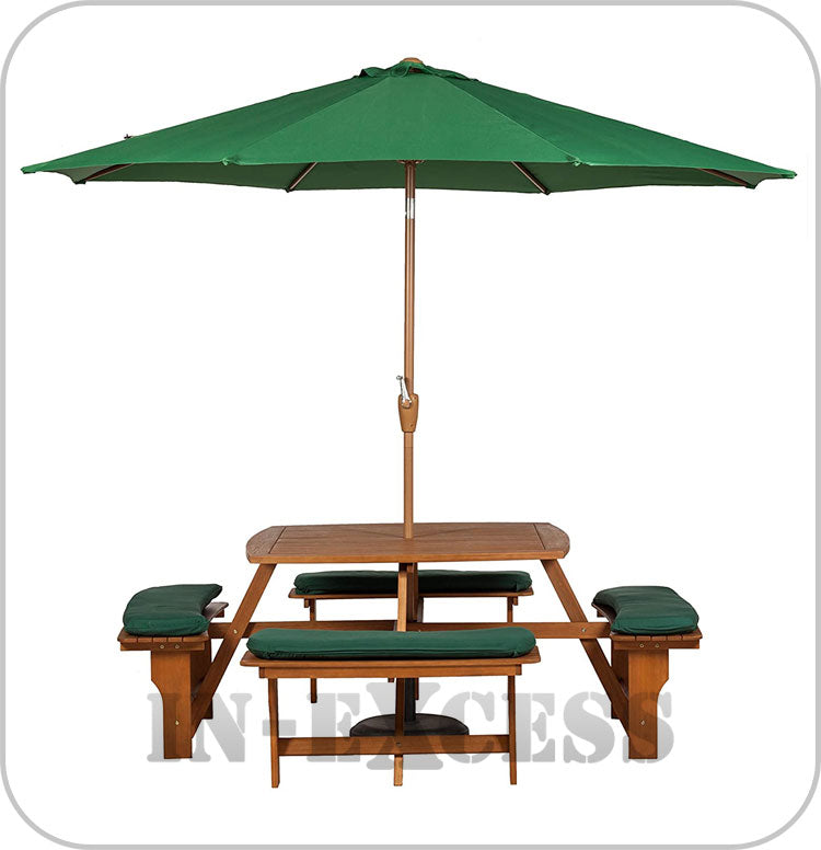 Sacramento 8 Seater Picnic Bench with 4 Seat Cushions, Plus **3m Crank & Tilt Parasol**