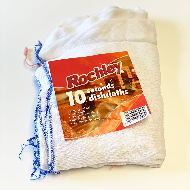 Rochley General Dish Cloths - Pack of 10 -seconds white