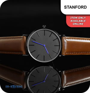 Stanford Minimalistic Quartz Watch With Blue Hands Brown Genuine Leather Strap - Black