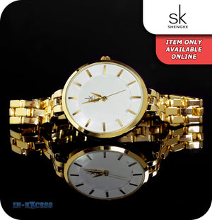 Shengke Auckland Minimalistic Quartz Watch With Gold Strap - White