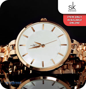 Shengke Auckland Minimalistic Quartz Watch With Rose Gold Strap - White