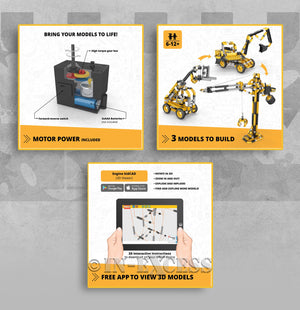 Photo of Engino JCB Tall Crane Motorized 3-in-1 Construction Set  Detail