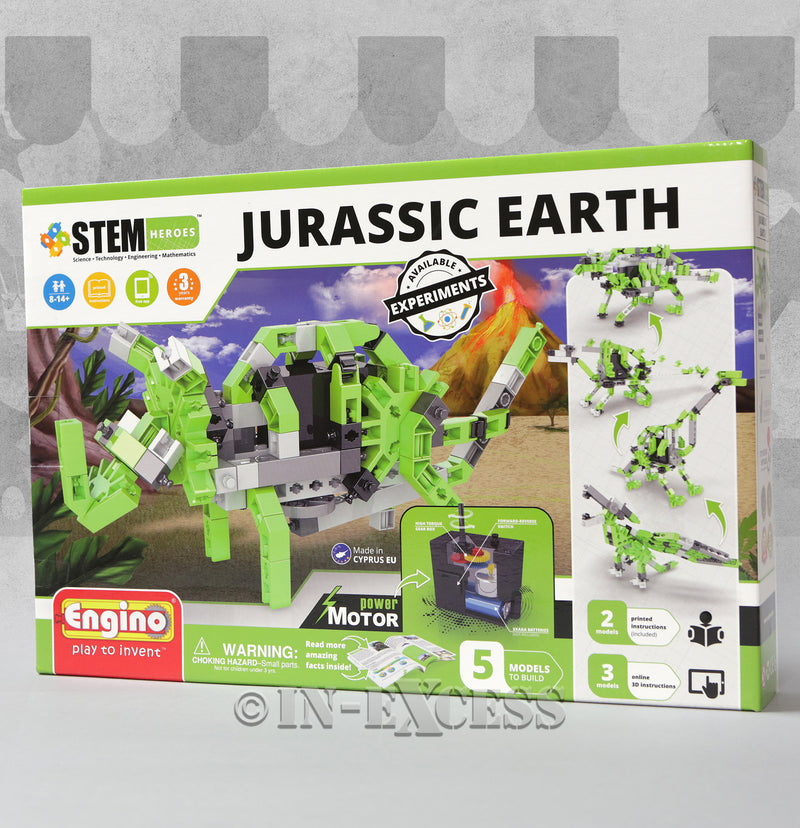 ENGINO STEM Jurassic Earth Set Build 5 Models Dinosaur Trex Triceratops
