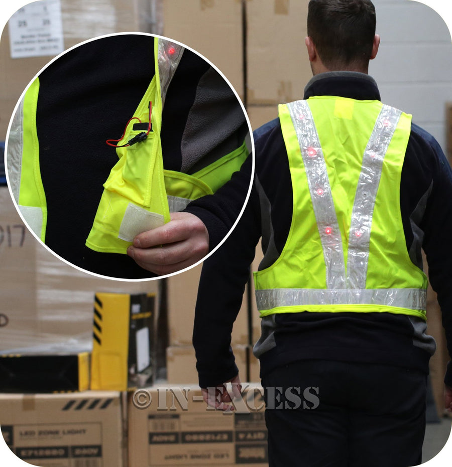 Saxon Sakura High Visibility Flashing LED Vest - Universal Fitting