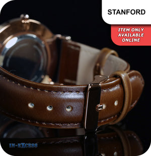 Stanford Minimalistic Quartz Watch With Rose Gold Brown Genuine Leather Strap - White