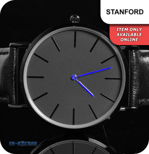 Stanford Minimalistic Quartz Watch With Blue Hands Black Genuine Leather Strap - Black