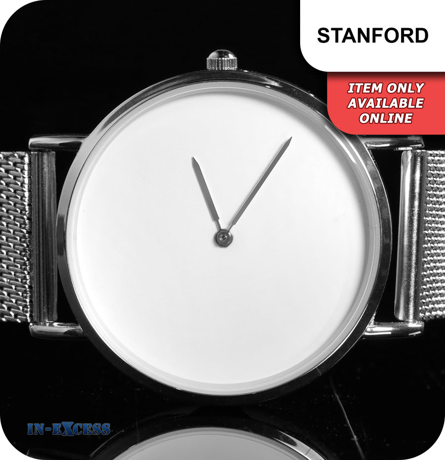 Stanford Minimalistic Quartz Watch With Silver Mesh Strap - White