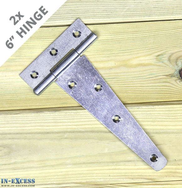 "2x 150mm (6"") Gate Shed Door Tee Hinge - Zinc Plated X-H005"