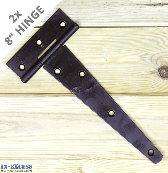 "2x 200mm (8"") Gate Shed Door Tee Hinge - Black X-H006"