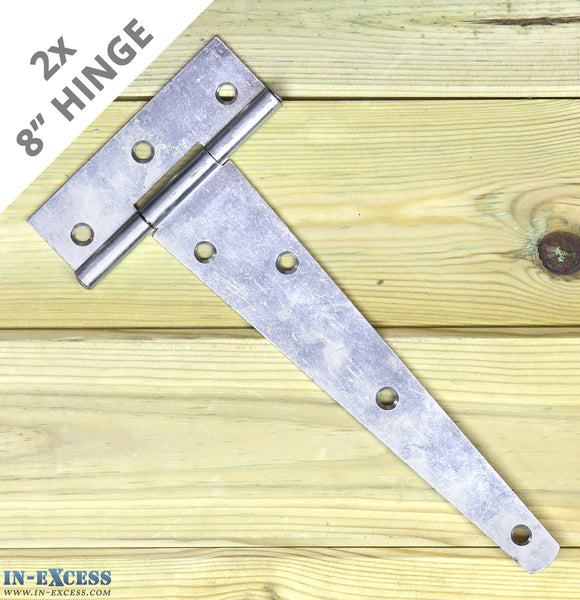 "2x 200mm (8"") Gate Shed Door Tee Hinge - Zinc Plated X-H007"