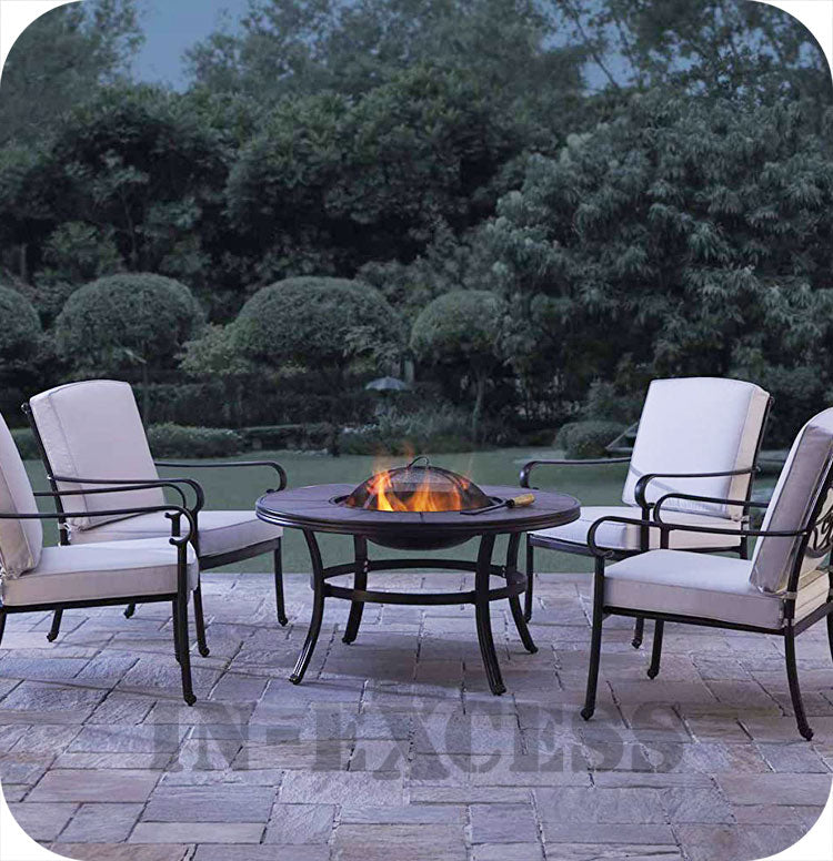 Versailles 4 Seater Firepit Cast Aluminium Set, including Cushions