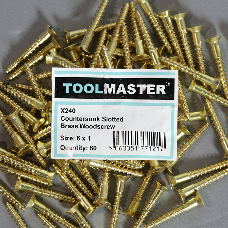 Toolmaster Countersunk Slotted Brass Wood Screw 6 x 1