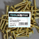 Toolmaster Countersunk Slotted Brass Wood Screw 7 x 1