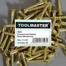 Toolmaster Countersunk Slotted Brass Wood Screw 8 x 3/4