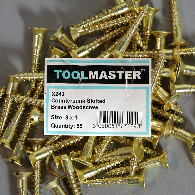 Toolmaster Countersunk Slotted Brass Wood Screw 8 x 1