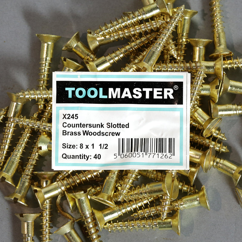 Toolmaster Countersunk Slotted Brass Wood Screw 8 x 1 1/2