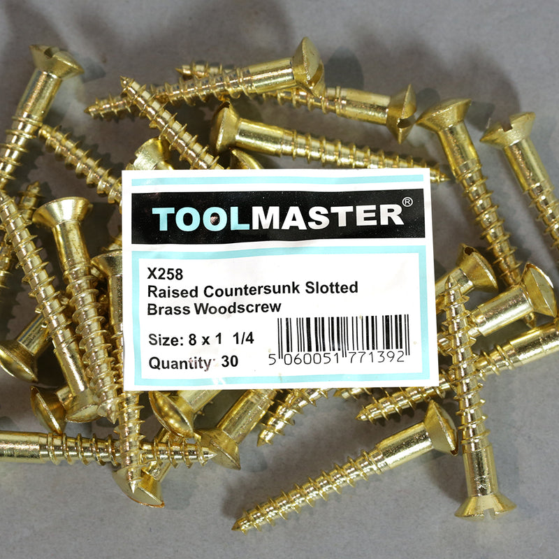 Toolmaster Raised Countersunk Slotted Brass Wood Screw 8 x 1 1/4