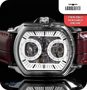 Abbrecci Artemis Mechanical Wrist Watch With Synthetic Leather Strap - Silver & Ox Blood Red