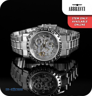 Abbrecci Callisto Vintage Mechanical Wrist Watch With Link Strap - Silver