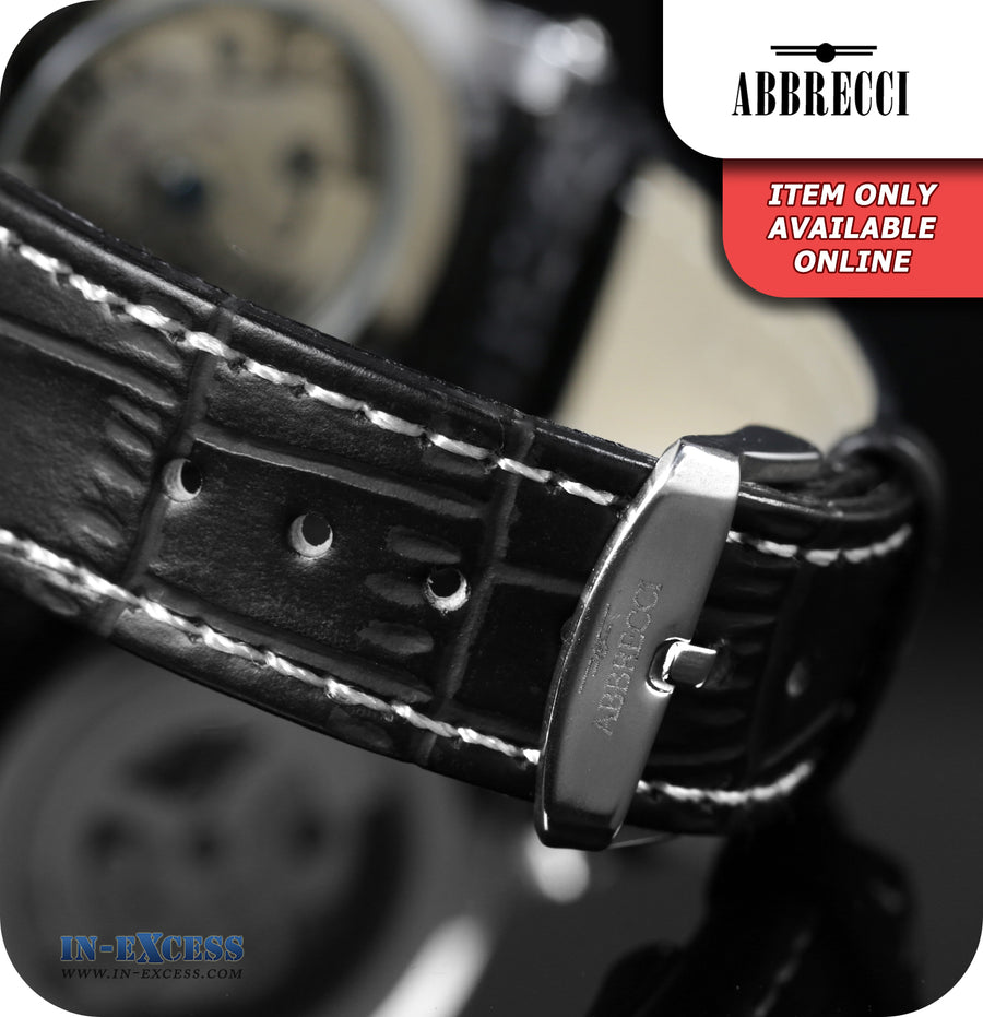Abbrecci Emanuele Mechanical Skeleton Wrist Watch Synthetic Leather Strap  - Black & Silver