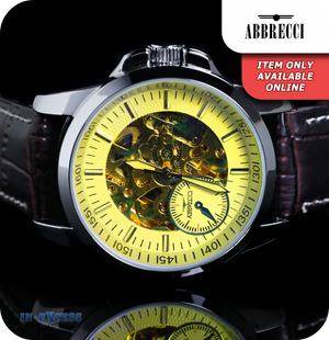Abbrecci Florentino Mechanical Wrist Watch With Synthetic Leather Strap - Black & Yellow