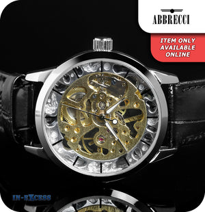 Abbrecci Sole Mechanical Skeleton Wrist Watch Synthetic Leather Strap  - Silver & Black