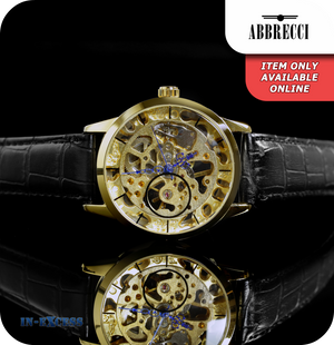 Abbrecci Steampunk Mechanical Skeleton Wrist Watch Genuine Leather Strap  - Black & Gold