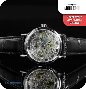 Abbrecci Steampunk Mechanical Skeleton Wrist Watch Genuine Leather Strap  - Black & Silver