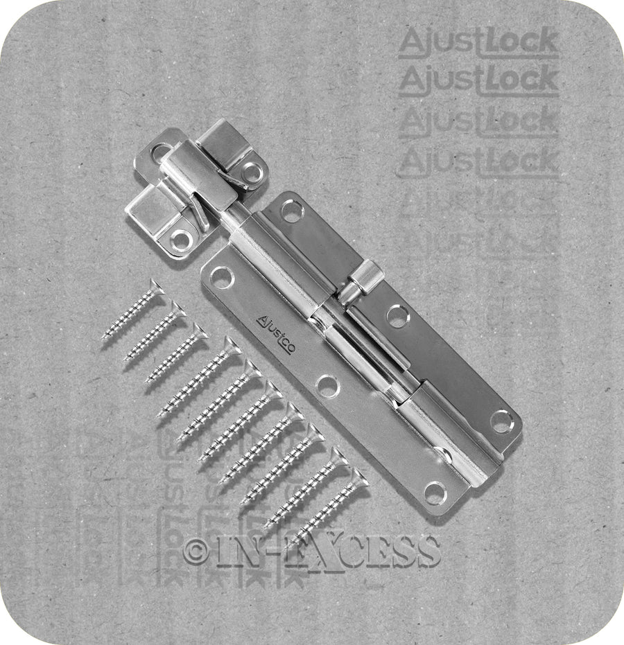 "Ajustco AjustLock Stainless Steel Heavy Duty Adjustable Barrel Bolt - 150mm (6"")"