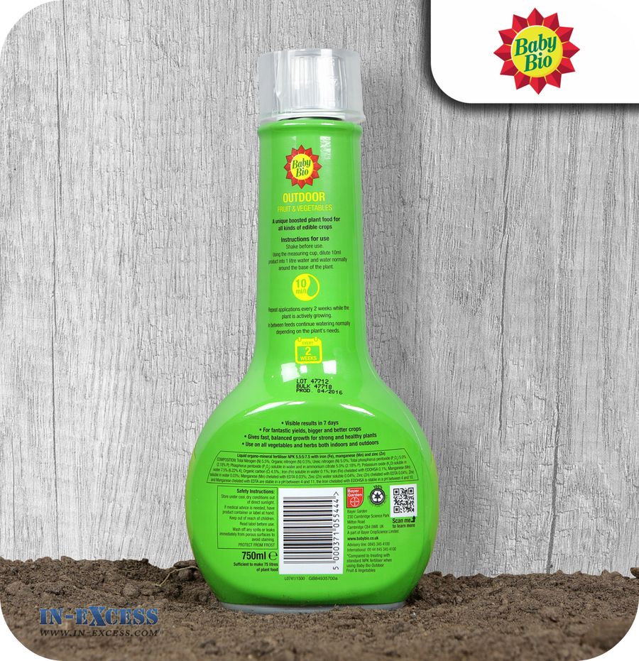 Baby Bio Outdoor Fruit & Vegetable Liquid Plant Food - 750ml