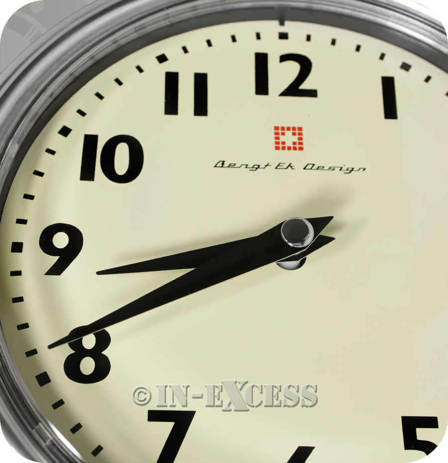 Bengt Ek Design Swiss Retro Art Deco Brushed & Polished Aluminium Vintage Wall Clock - Cream